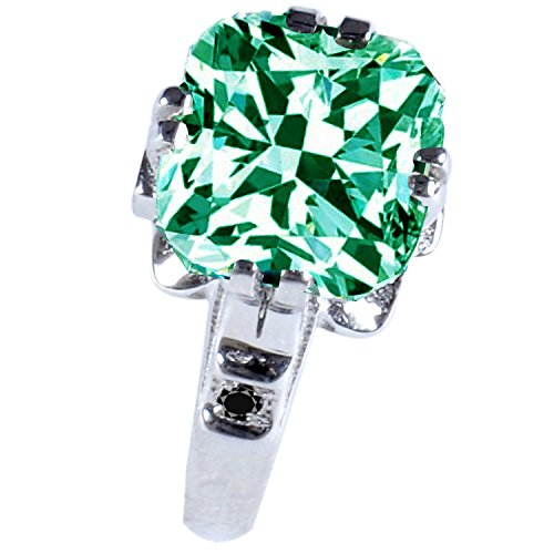 RINGJEWEL Silver Plated Cushion Moissanite Engagement Ring Size 7 (Green Color,3.78 Ct,VS2 Clarity) by RINGJEWEL (Image #2)