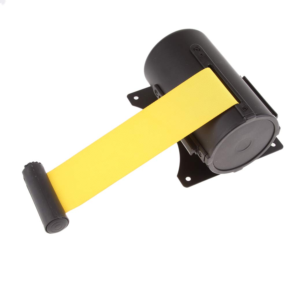 Black Finish 7 Color Diagonal Stripe 16.4 Feet Black and Yellow perfk Wall Mounted Retractable Ribbon as described