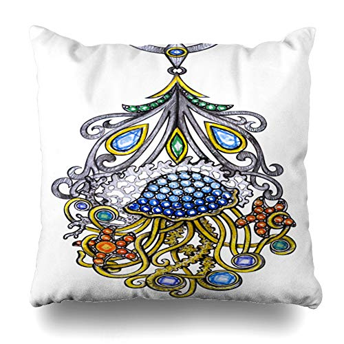 Ahawoso Throw Pillow Cover Rings Watercolor Jewelry Jellyfish Pendant Hand Drawing Diamond Painting Red Blue Antique Bangle Decorative Pillowcase Square 16