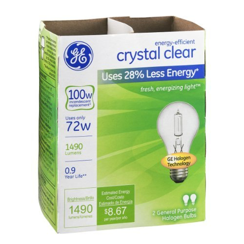 - GE 78798-12 Halogen Crystal Clear A19 Bulb, 72-Watt, 6 2-Packs (Total 12 Bulbs)