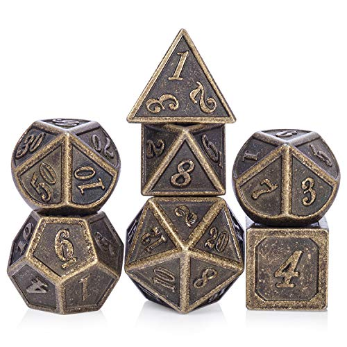 Ancient Design Dice, 7PCS Brass DND Metal Dice with Metal Box for Table Games, Dungeons and Dragons, Shadowrun, Pathfinder, Savage World