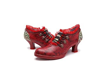 840ee18a0bf76 Womens Pumps, Popoti Leather Shoes Mary Jane Mid heel shoes Handmade  High-Heel Ankle Boots Floral Lace Dress Shoes (Red, 41)