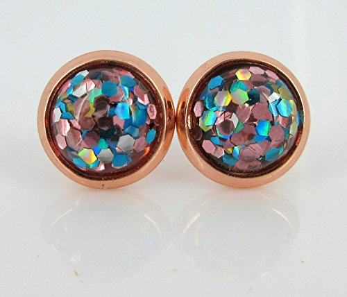 Rose Gold-tone Aqua Blue Silver and Pink Glitter Resin Stud Earrings 8mm