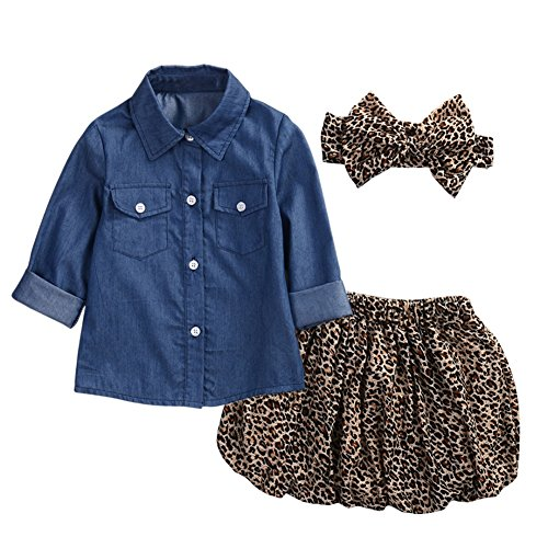Denim Girls Belt - Zhengpin 3PCS HOT Baby Girl Denim Tops+ Belt+ Leopard Grain Dress Suit Set Clothing (3T-4T)