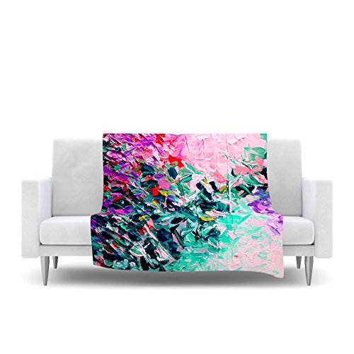 80 by 60 Kess InHouse EBI Emporium Romantic Getaway Pink Teal Fleece Throw Blanket