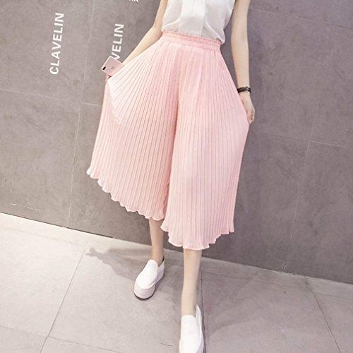 Chiffon Fashion Elastica Palazzo Donna Estivi Glamorous Waist Accogliente Pantaloni Baggy High Vita Libero Pieghe Sciolto Rosa Eleganti Semplice Haidean Monocromo Tempo YqgwzC