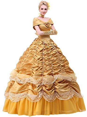 Ace Deluxe Adult Women's Beauty and the Beast Belle Costumes Custom Made Dress (S, Dress) (Custom Made Disney Princess Costumes)