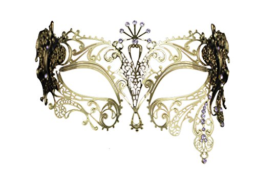 Exotic Party Feather Face Mask (Opera Laser Cut Masquerade Mask Half Face Mask Silver Crystal Decor Venetian Mask)