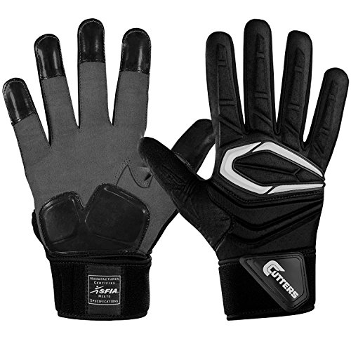 Cutters Gloves Adult Force 2.0 Lineman Gloves, Black, Medium