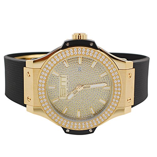 Mens Yellow Gold-Tone Lab Diamond Stainless Steel 2 Row Jojino JoJo Watch with Black Rubber Band