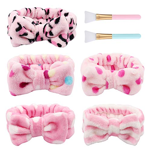 - TOBATOBA 5Pcs Bow Hair Band, Women Spa Headband Turban Bowknot Bow Makeup Shower Headbands Headwraps for Washing Face Shower Spa Mask, with 2 pcs Silicone Face Mask Brushes