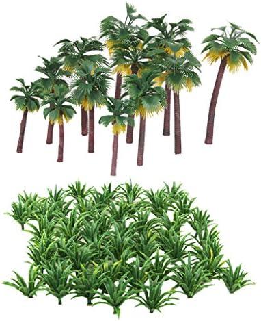 Hellery 62ピース/個混合モデルの木草植物セット、Ho Oスケールジオラマ用品、鉄道模型の風景、プロジェクト用のプラスチックの木、森林景観の建物