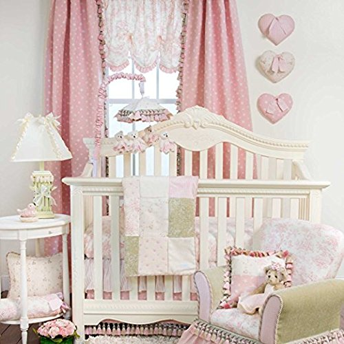 Skirt Jean Cotton Glenna Crib (Glenna Jean 3 Piece Isabella Bedding Set, Pink/Green/Cream)