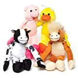 Farm Animal Hanging Plush Pals Perfect Party Bag Filler and Cuddly Toy for Children (Pack of 4)