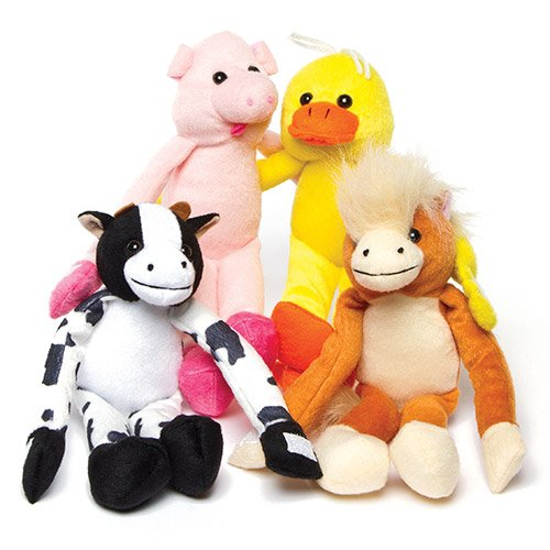 Farm Animal Hanging Plush Pals Perfect Party Bag stuffer and Cuddly Toy (Farm Animals Hanging)