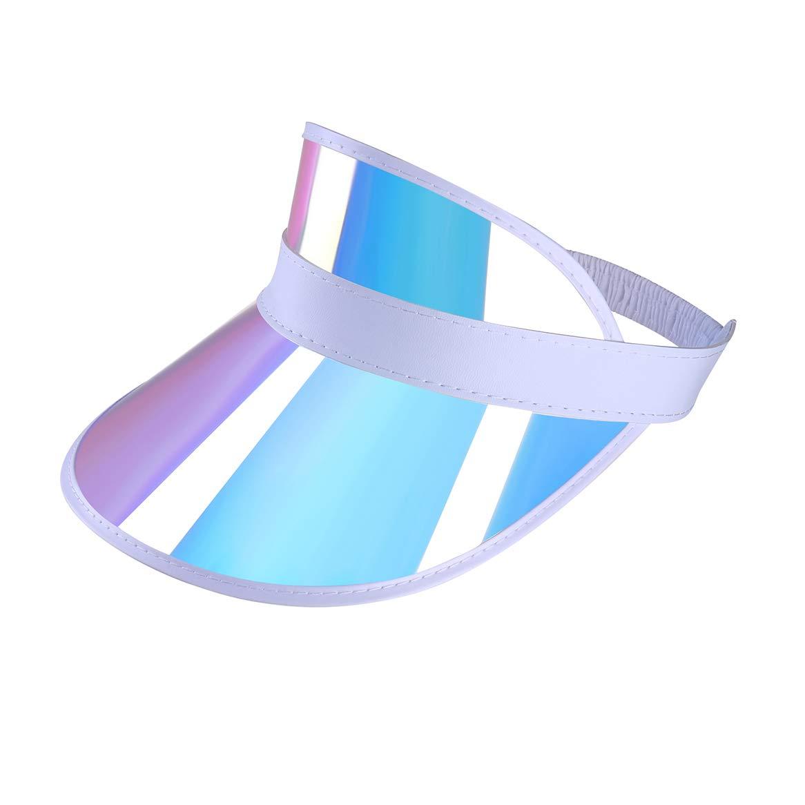 Iridescent Plastic Sun-Visor Hats UV-Shield Protection Hat Tennis-Viosr-Mirrored