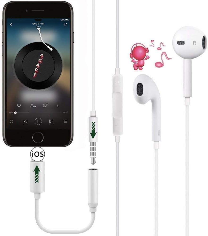 SZJMSR Adaptateur Casque pour iPhone 11 Adaptateur Aux Audio Connecteur Jack 3,5 mm C/âble Adaptateur Casque R/épartiteur pour Musique Compatible avec iPhone 7//7Plus//8//8Plus//X//XS pour Tous iOS-Blanc