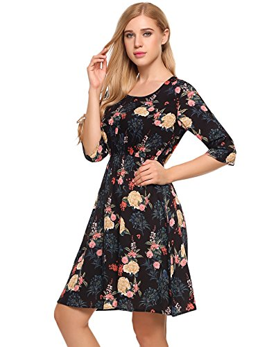 Waist Vintage Bohemian Floral Dress Maxi Boho Neck V Print black Split Tie Floral Women's Dress Beyove C ARgTYT