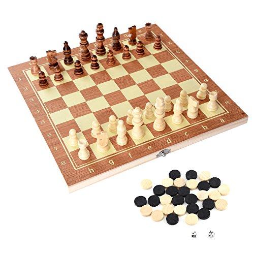 チェスセット チェスボード 木製 折り畳み式 おもちゃ 知的ゲーム 持ち運び便利 多機能 チェス盤 チェス駒 34x17x3.5cm