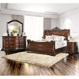 Furniture of America Luxury Brown Cherry 4-Piece Baroque Style Bedroom Set Queen