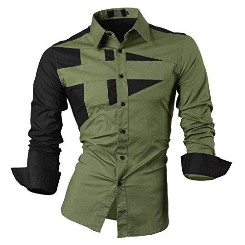 SODIAL(R) Haut Qualite Hommes Mince Fit Unique Encolure Elegant Robe Manches Longues Casual Chemise Vert Armee Taille XL/US M
