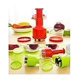 Zehui Garlic Onion Pepper Ginger Peeler Dicer Pressing Food Chopper Handheld Vegetable Cutter Slicer Red