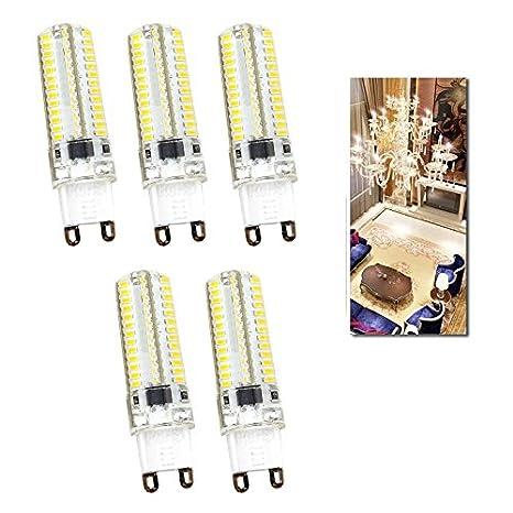 Vingo® 5 W 5 unidades Bombilla LED con casquillo de patillas Blanco Cálido Con Silicona Material la bombilla 104 x 3014 SMD: Amazon.es: Iluminación