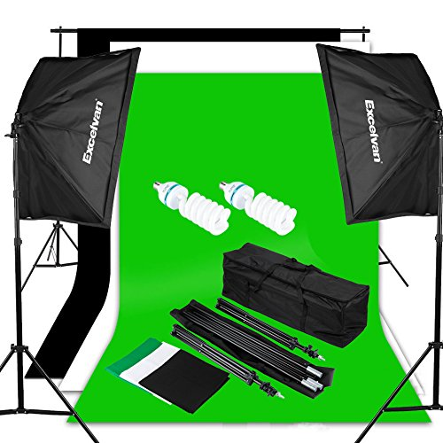 Excelvan Photography Video Studio Lighting Kit (1250W Soft Box) W/3 Background Backdrop (White Black Green) 10×6.5FT Light Stand