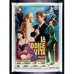 LA DOLCE VITA * CineMasterpieces FELLINI VINTAGE ORIGINAL ITALY ITALIAN MOVIE POSTER 1960 SEXY BLONDE ANITA EKBERG