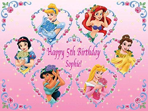Disney Princesse Décoration pour gâteau personnalisée Glaçage Sucre Papier A4image d