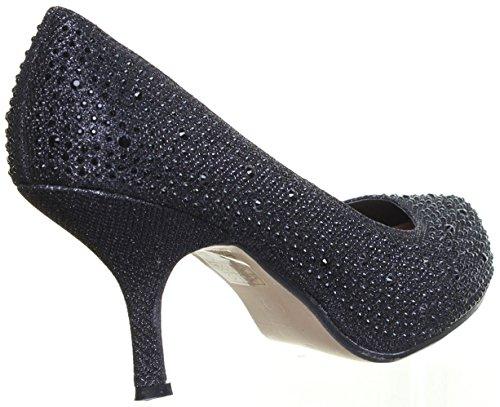 Stiletto Heel Office UK Work Slip Casual Atria Womens Black Diamonte M1 On 5 Aqcwz8FH