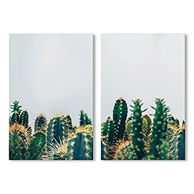 Grand Craft, 2 Panel Pots of Green Cactus x 2 Panels, Quality Artwork