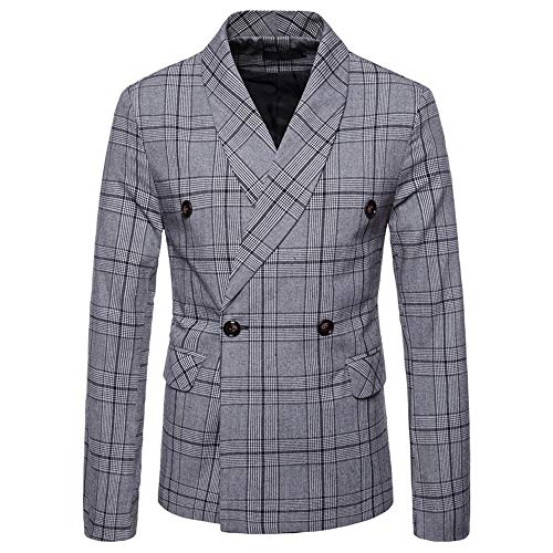 REYO Men's Jacket Long Sleeve Casual Fashionable Checked Double-Breasted Suit Button Lattice Coat Tops