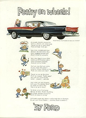 Ford Hardtop - Poetry on wheels! Ford Fairlane 500 2-door hardtop ad 1957 NY