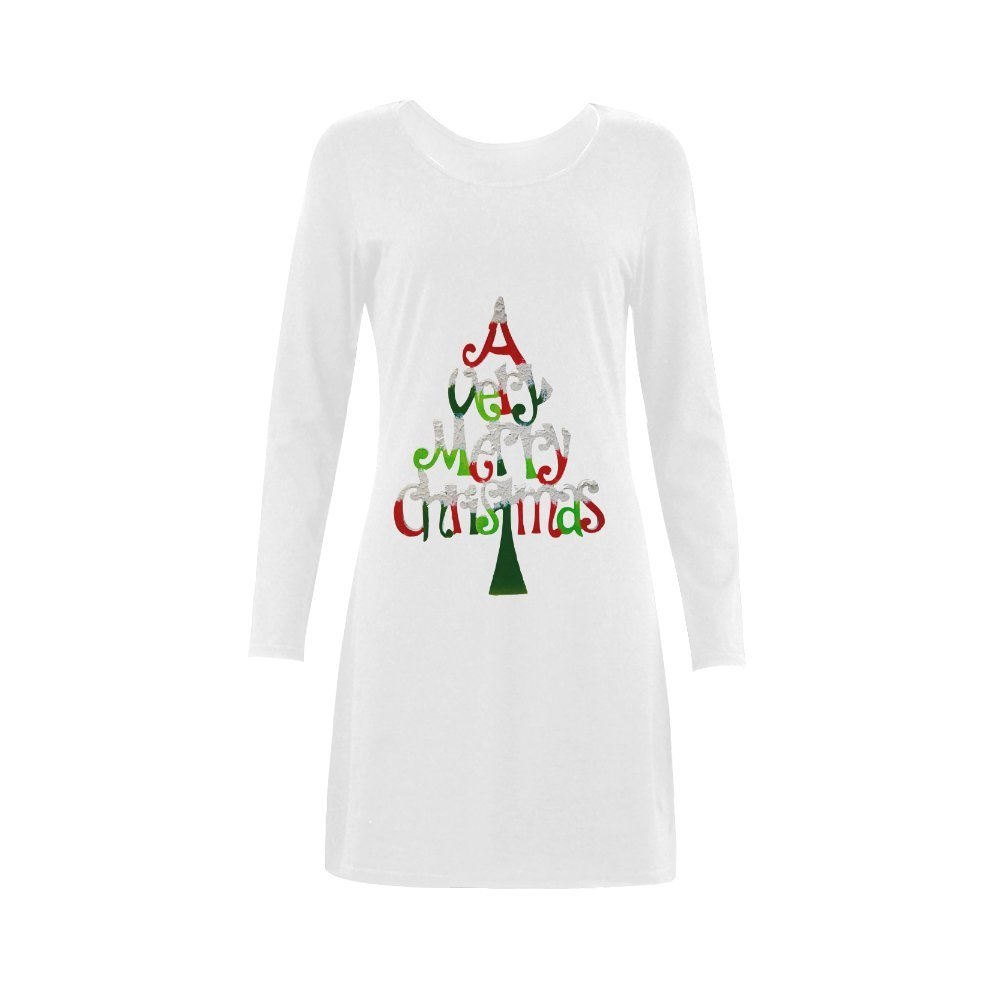 Merry Christmas Cotton Crew Neck Long Sleeve Nightdress For Women