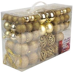 Christmas Gifts Valigia 100 Pezzi Palle di Natale Oro, Gold, 100x 5 spesavip