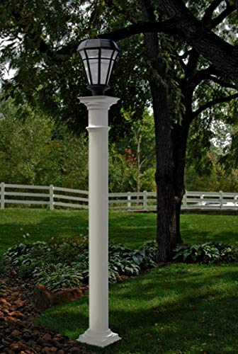 New England Arbors Va94437 Providence Round Lamp Post, 6x6x72, White