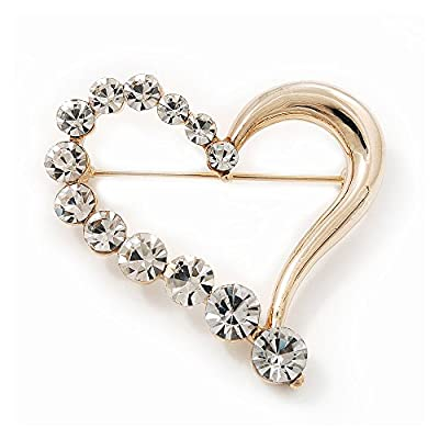 Gold Plated Open Crystal 'Heart' Brooch - 4cm Length for cheap