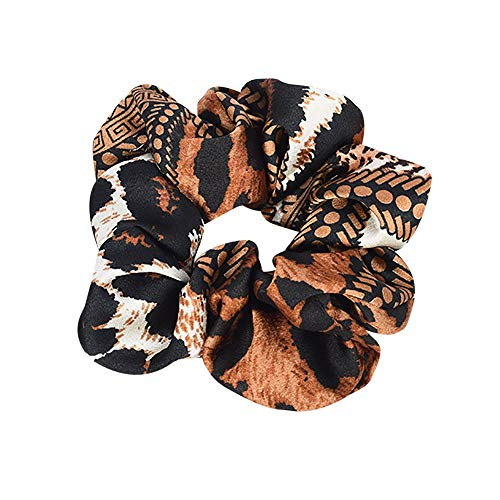 URIBAKE Women Elastic Hair Rope Print Ring Tie Scrunchie Ponytail Holder Hair Band Accessories Color Optional Orange -