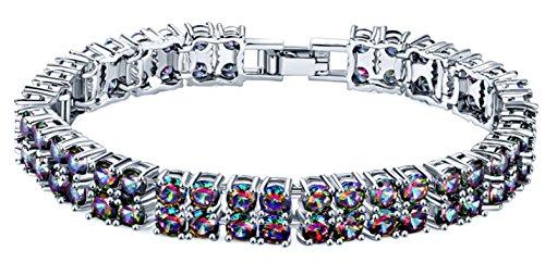 - Silver Elegant Mystic fire Topaz Women Bracelet 7.25 inches
