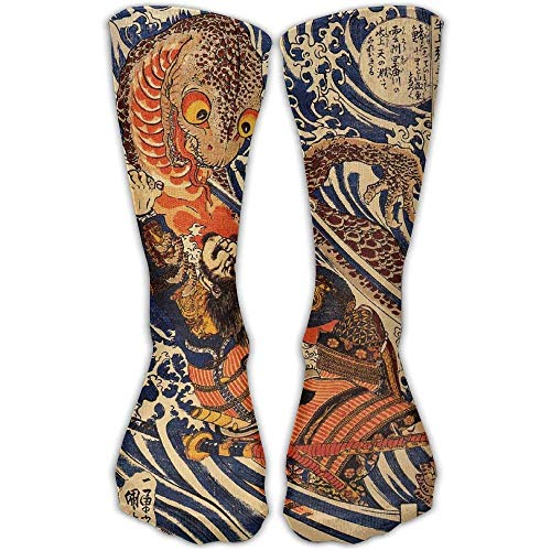(Personalized Cool Athletic High Socks Stockings Men Women Japanese Samurai Warrior Fighting Giant Salamander Cotton Novelty Sports Crew Tube Knee Sock Stocking)