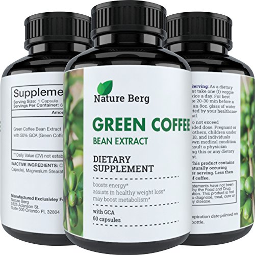 Natural Raw Green Coffee Bean Extract ? Extra Strength Pure Premium Antioxidant Beans ? 800 mg Max Fat Burner Supplement + Super Cleanse Pills for Weight Loss Benefits + Reviews ? Nature Berg