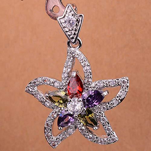 Gold Amethyst Star Pendant - 1pc 18K White Gold Filled- Ruby Amethyst Zircon Topaz Star Flower Party Lady Pendant DQ4L