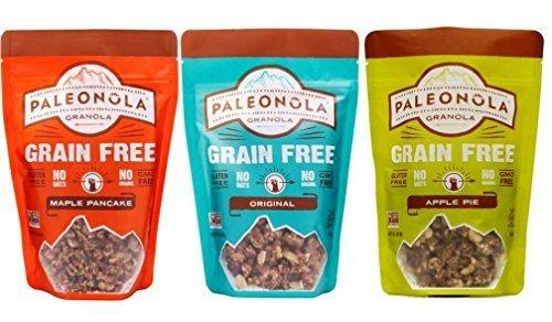 Paleonola Grain Free Gluten Free Granola 3 Flavor Variety Bundle: (1) Paleonola Original Granola, (1) Paleonola Apple Pie Granola, and (1) Paleonola Maple Pancake Granola, 10 Oz. Ea. (3 Bags ()