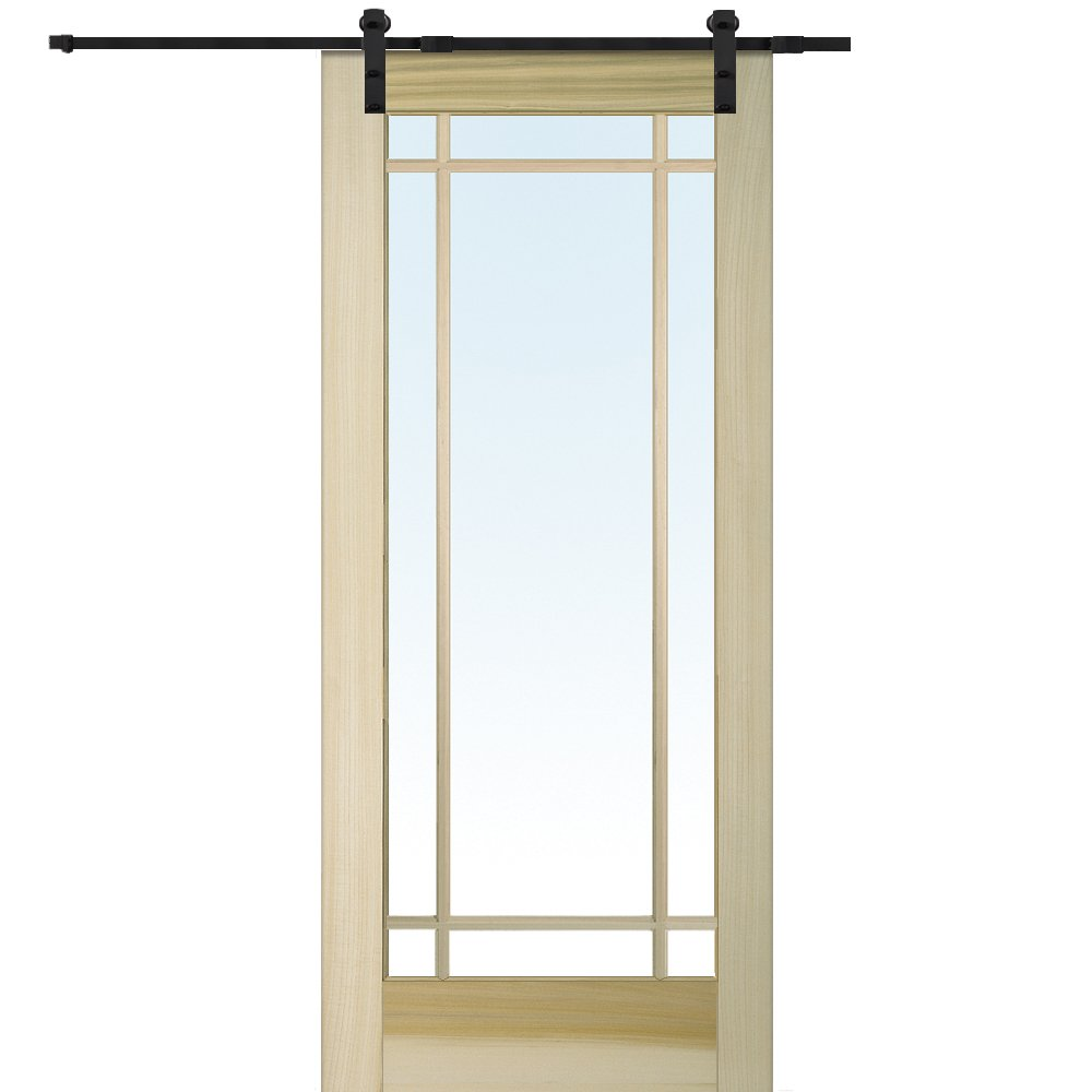 National Door Company Z009574 Unfinished Poplar Wood 9 Lite True Divided Clear Glass, 32'' x 80'', Barn Door Unit
