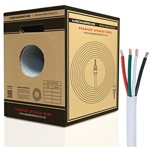 Mediabridge 12AWG 4-Conductor Speaker Wire w/ Convenient Pull-Out Box (200 Feet, White) - 99.9% Oxygen Free Copper - ETL Listed & CL2 Rated for In-Wall Use (Part# SW-12X4-200-WH ) by Mediabridge
