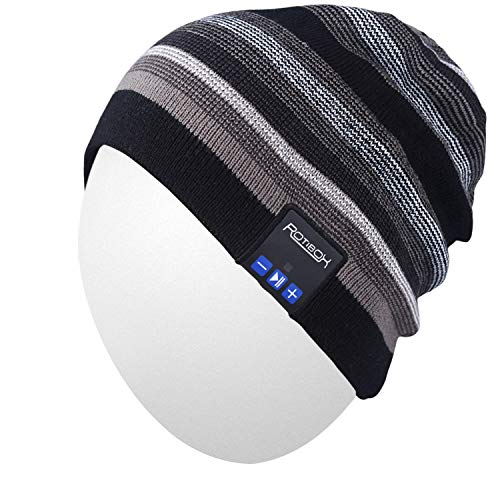 Qshell Wireless Bluetooth Beanie Hat Cap with Musicphone Speakerphone Stereo Headphone Headset Earphone Speaker Mic for Fitness Outdoor Sports Skiing Running Skating Walking,Christmas Gifts - Black