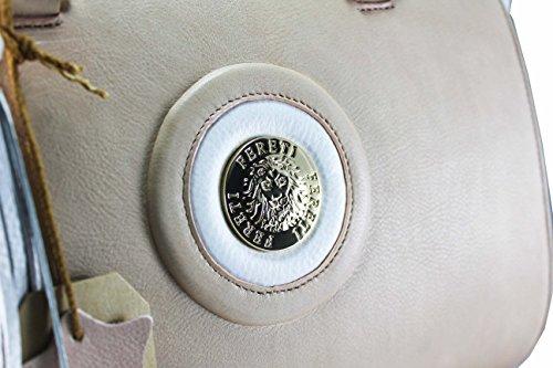 FERETI Borsa a mano con catena doro vera pelle Rosa e bianco con nappa e Leone Fereti …