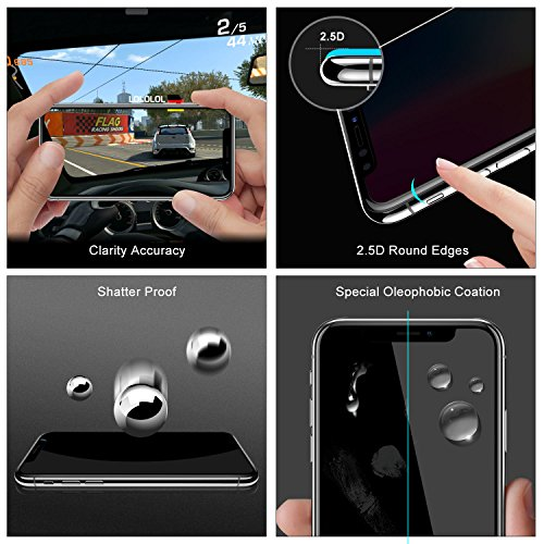 outlet Privacy Screen Protector iPhone X,Entwth Case Friendly 3D Touch 9H Hardness Anti Spy/Scratch/Fingerprint Tempered Glass Film for iPhone X/10, Easy Install Bubble Free(Black,1 Packs)