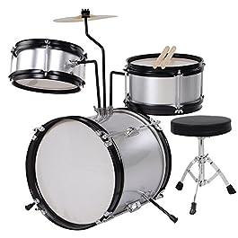 AW 3pcs Junior Kid Children Drum Set Kit Sticks Throne Cymbal Bass Snare Boy Silver